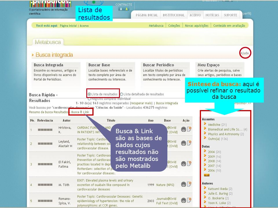 Lista de resultados. Síntese da busca: aqui é. possível refinar o resultado. da busca.