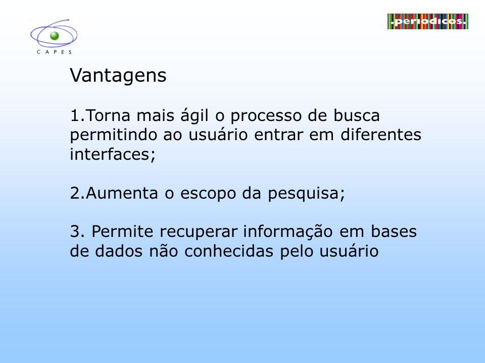 Vantagens 1.Torna mais ágil o processo de busca permitindo ao usuário entrar em diferentes interfaces;