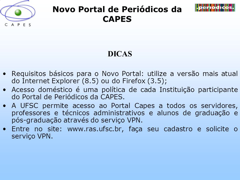 Novo Portal de Periódicos da CAPES