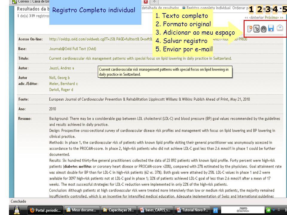 1 2 3 4 5 Registro Completo individual 1. Texto completo