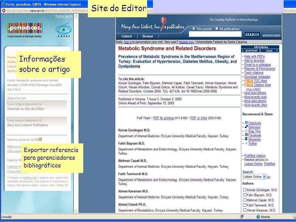 Site do Editor Informações sobre o artigo Exportar referencia