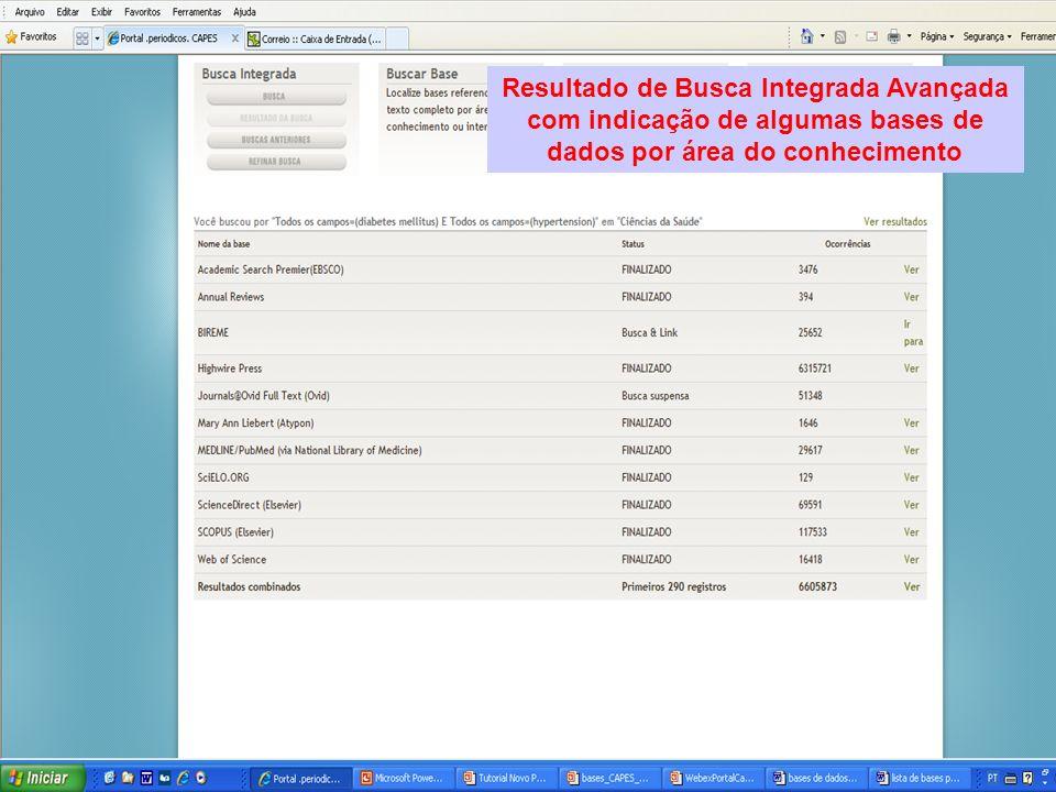 Resultado de Busca Integrada Avançada com indicação de algumas bases de dados por área do conhecimento