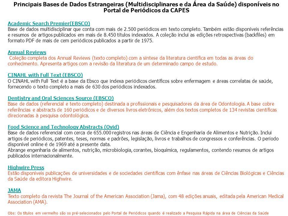 Principais Bases de Dados Estrangeiras (Multidisciplinares e da Área da Saúde) disponíveis no Portal de Periódicos da CAPES
