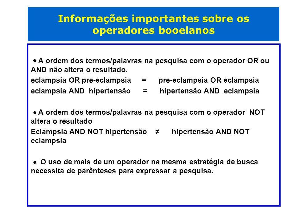 Informações importantes sobre os operadores booelanos