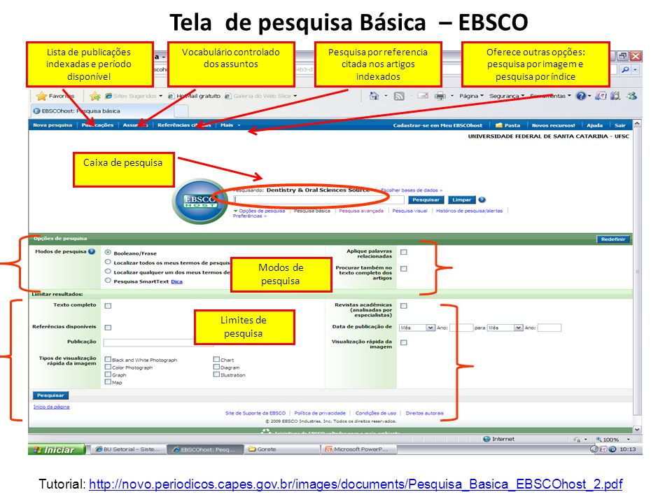 Tela de pesquisa Básica – EBSCO