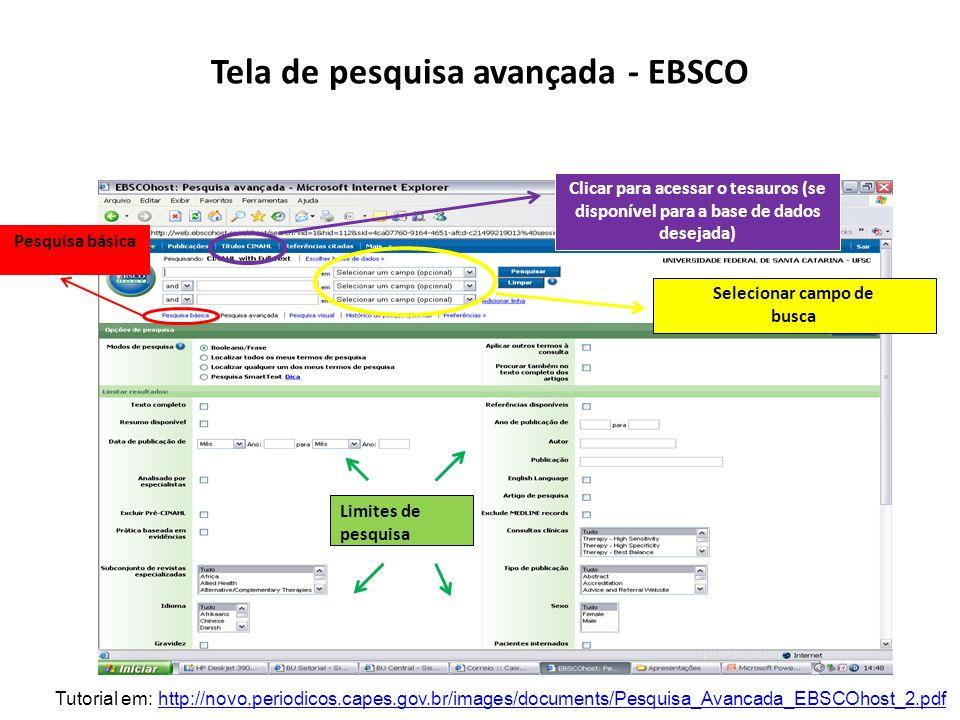 Tela de pesquisa avançada - EBSCO