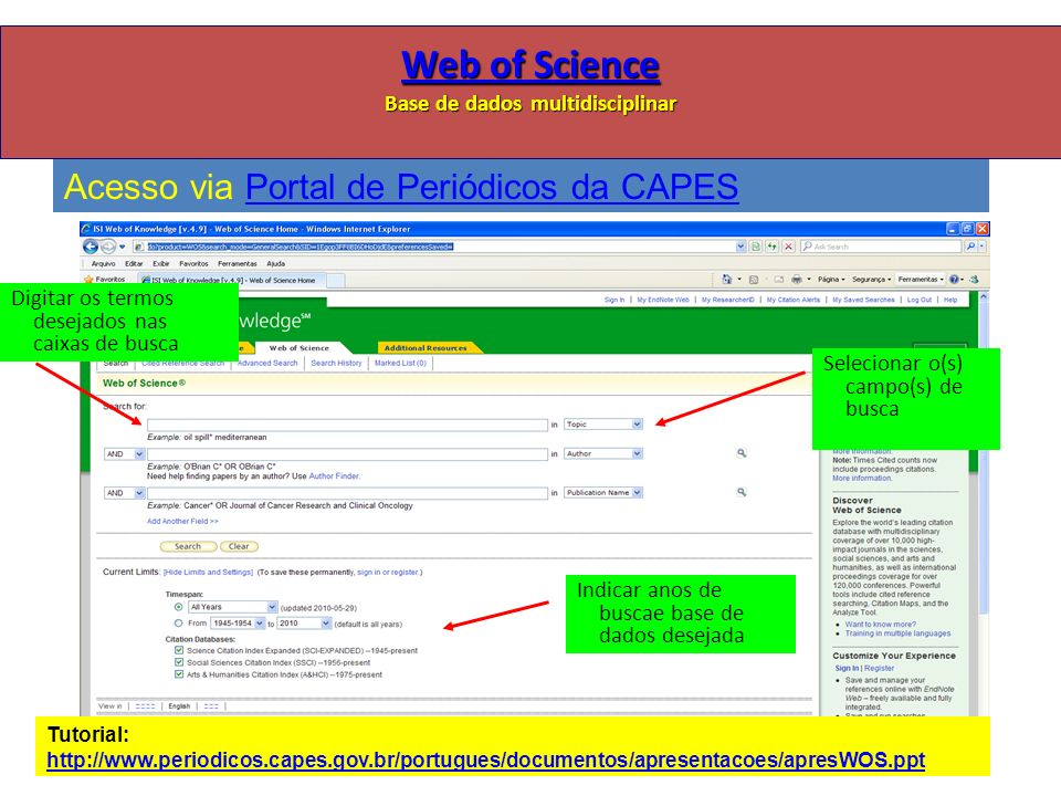 Web of Science Base de dados multidisciplinar