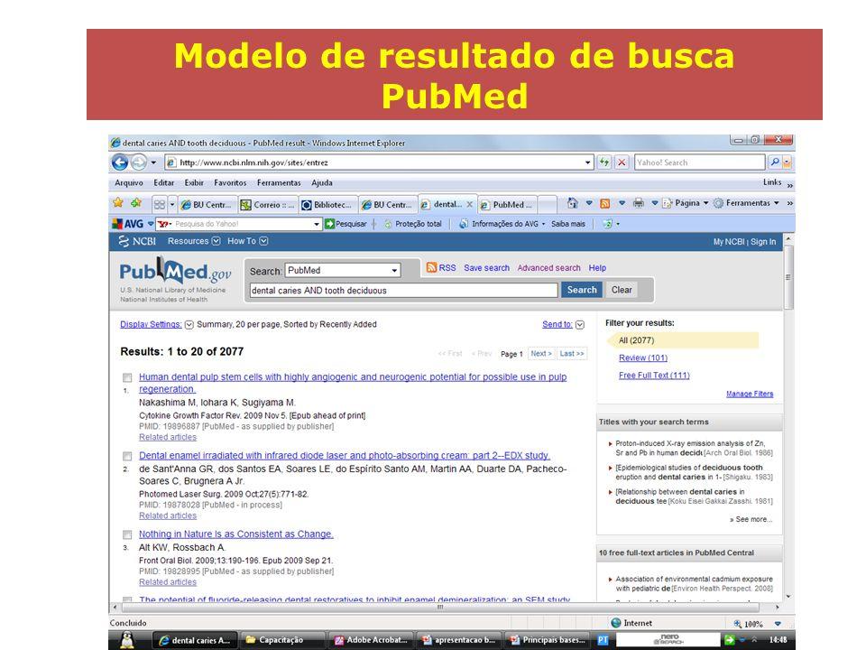 Modelo de resultado de busca PubMed
