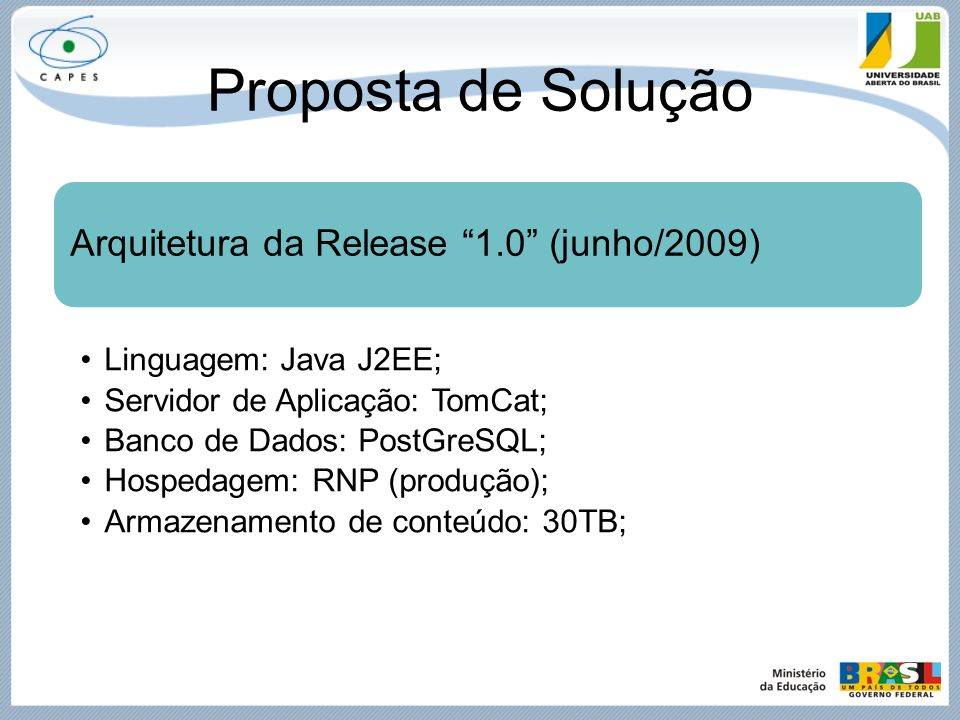 Proposta de Solução Arquitetura da Release 1.0 (junho/2009)