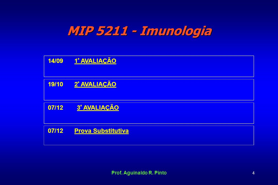 MIP 5211 - Imunologia 14/09 1ª AVALIAÇÃO 19/10 2ª AVALIAÇÃO