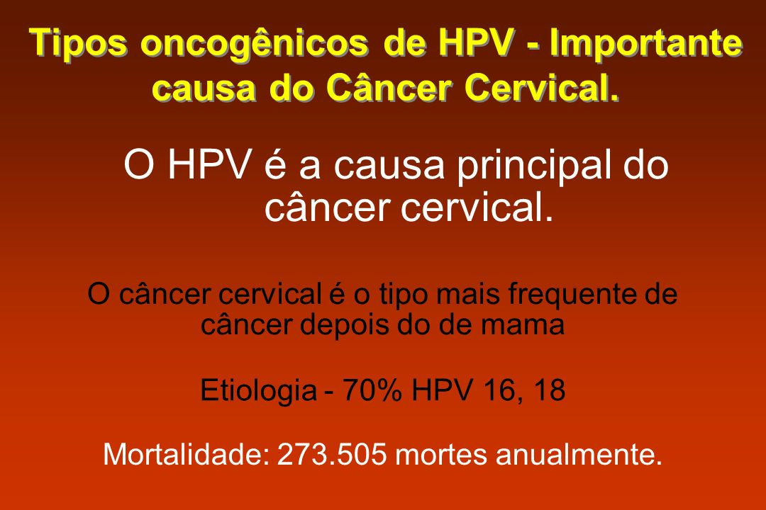 Tipos oncogênicos de HPV - Importante causa do Câncer Cervical.