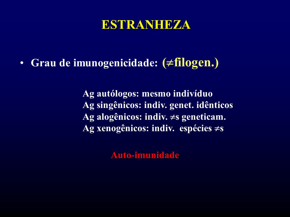 ESTRANHEZA Grau de imunogenicidade: (filogen.)