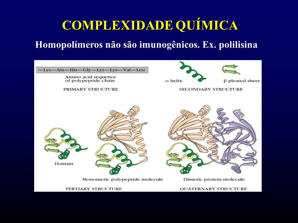 Homopolímeros não são imunogênicos. Ex. polilisina