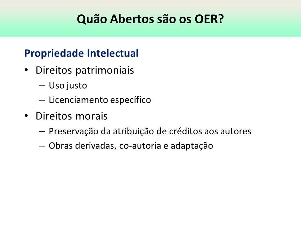 Quão Abertos são os OER Propriedade Intelectual Direitos patrimoniais