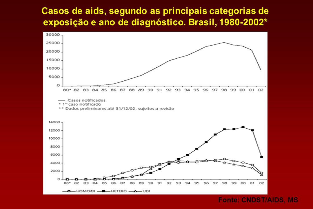 Fonte: CNDST/AIDS, MSCasos de aids, segundo as principais categorias de exposição e ano de diagnóstico.