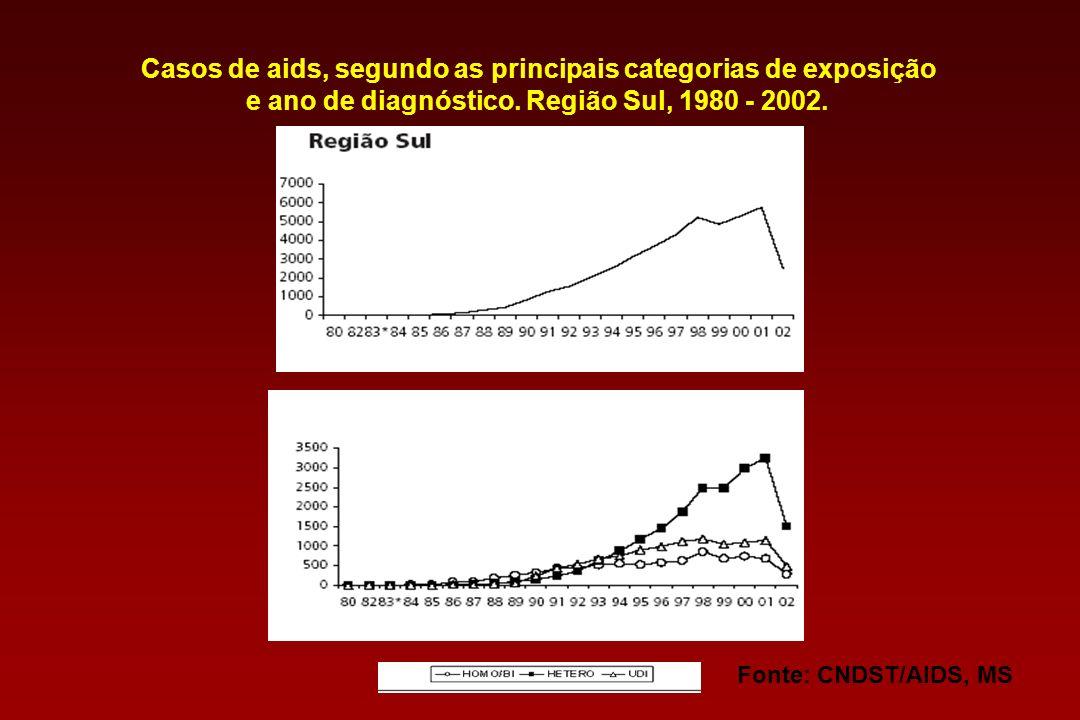 Casos de aids, segundo as principais categorias de exposição e ano de diagnóstico. Região Sul, 1980 - 2002.