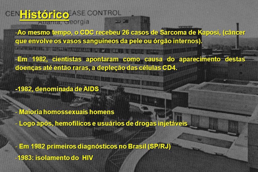 Histórico Ao mesmo tempo, o CDC recebeu 26 casos de Sarcoma de Kaposi, (câncer que envolve os vasos sanguíneos da pele ou órgão internos).