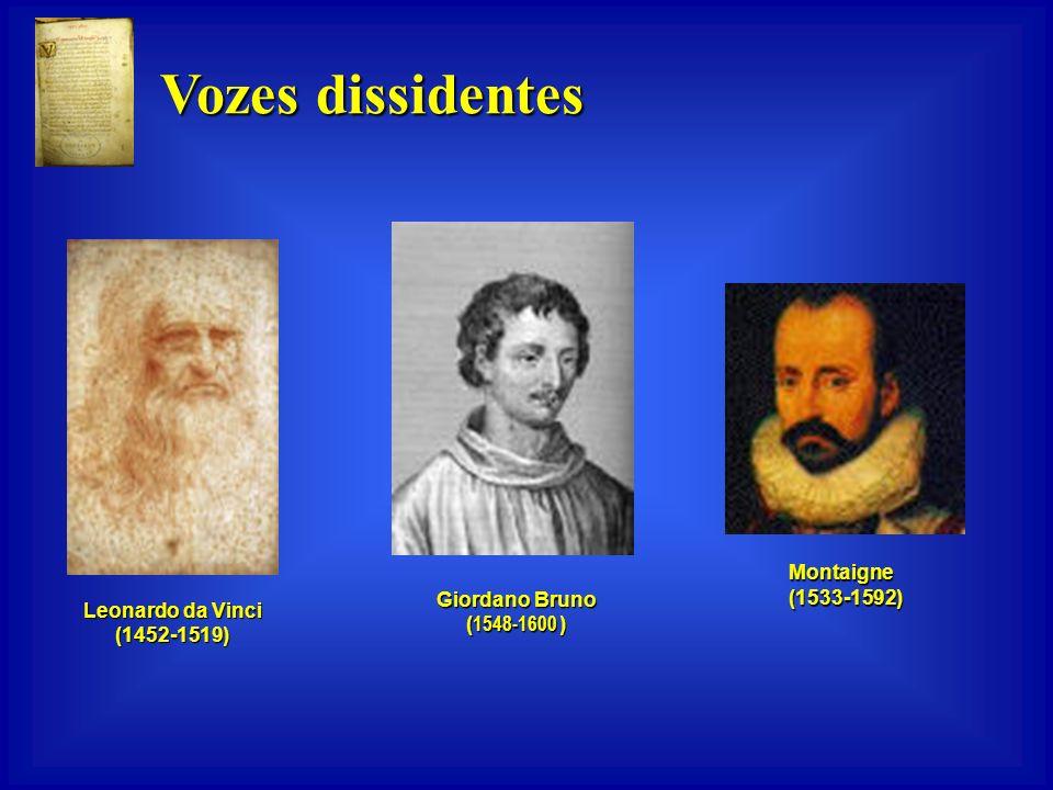 Vozes dissidentes Montaigne (1533-1592) Giordano Bruno (1548-1600 )