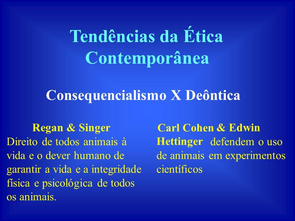 Tendências da Ética Contemporânea Consequencialismo X Deôntica Regan &