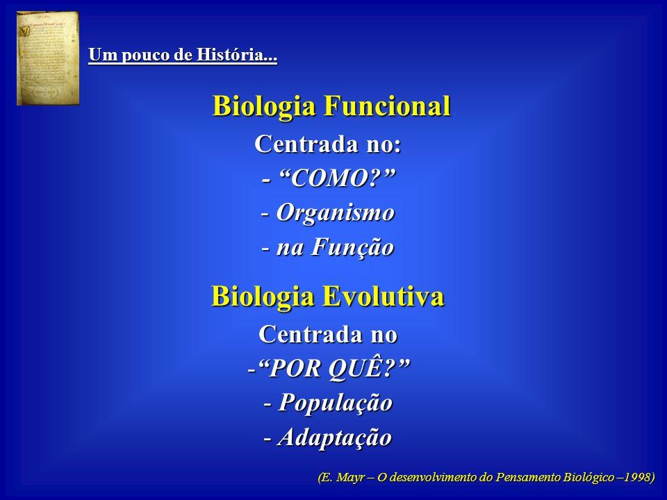 Biologia Evolutiva Biologia Funcional Centrada no: - COMO Organismo
