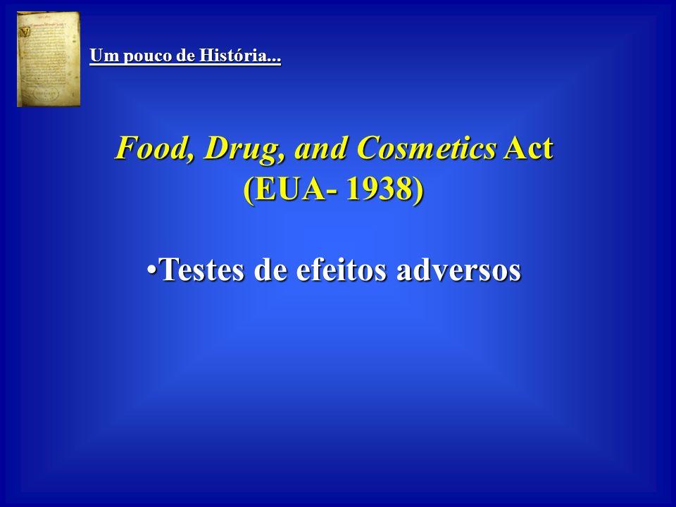 Food, Drug, and Cosmetics Act Testes de efeitos adversos