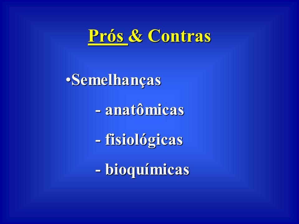 Prós & Contras Semelhanças - anatômicas - fisiológicas - bioquímicas