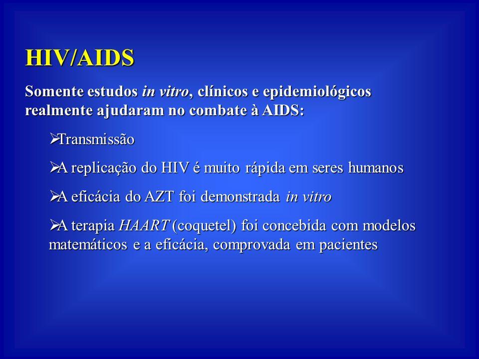 HIV/AIDS Somente estudos in vitro, clínicos e epidemiológicos realmente ajudaram no combate à AIDS: