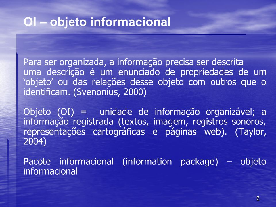 OI – objeto informacional