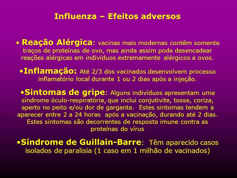 Influenza – Efeitos adversos