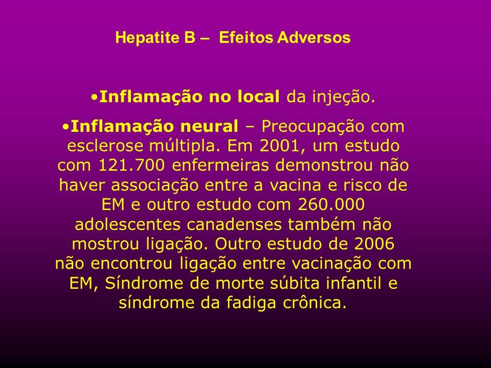 Hepatite B – Efeitos Adversos