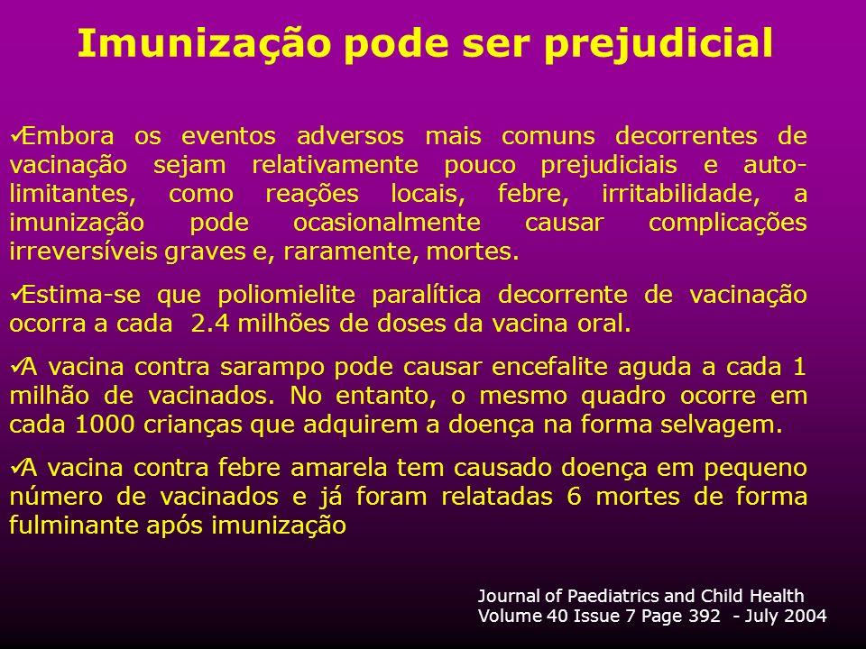Imunização pode ser prejudicial