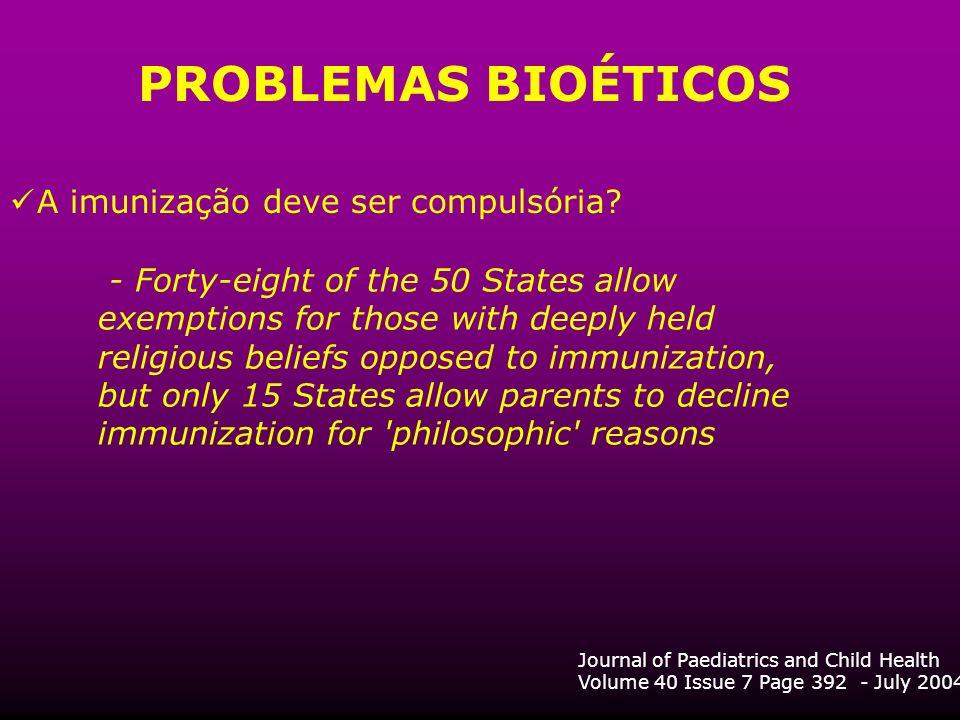 PROBLEMAS BIOÉTICOS A imunização deve ser compulsória