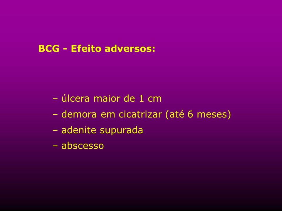BCG - Efeito adversos:úlcera maior de 1 cm.demora em cicatrizar (até 6 meses) adenite supurada.
