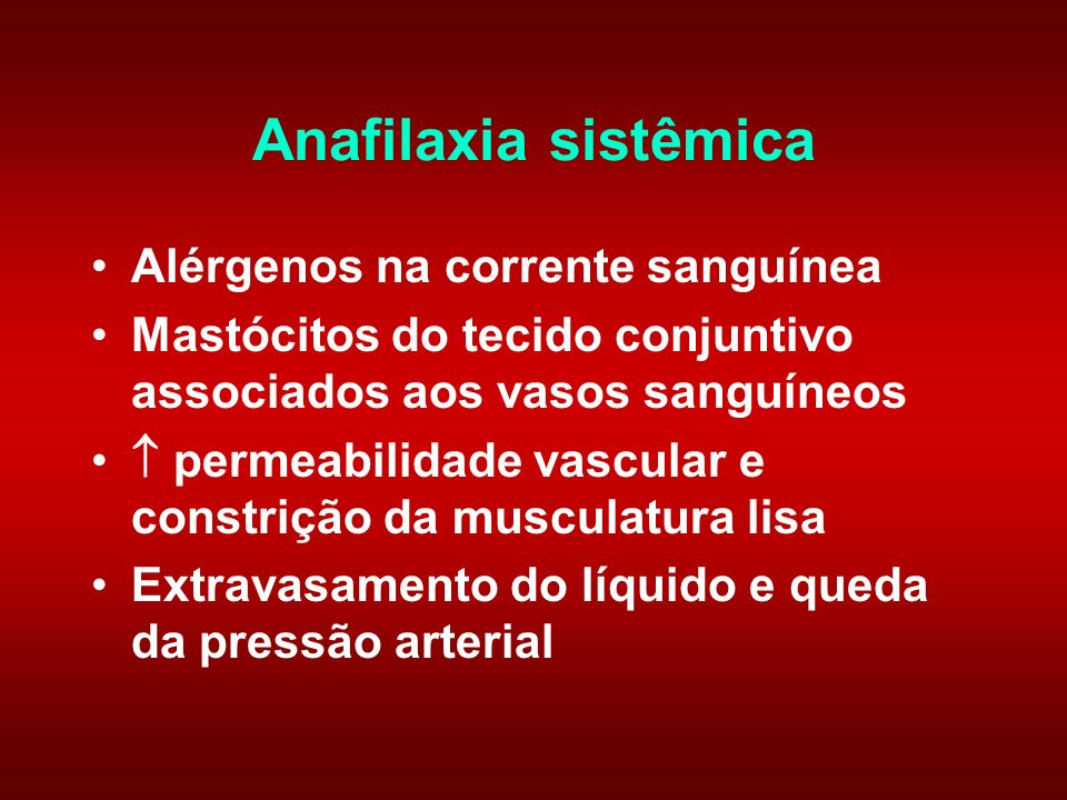 Anafilaxia sistêmica Alérgenos na corrente sanguínea