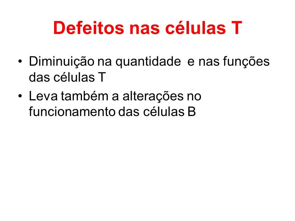 Defeitos nas células T Diminuição na quantidade e nas funções das células T.