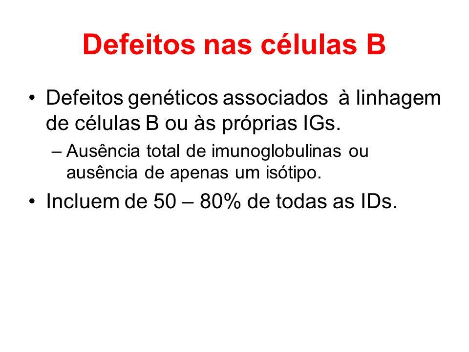 Defeitos nas células B Defeitos genéticos associados à linhagem de células B ou às próprias IGs.