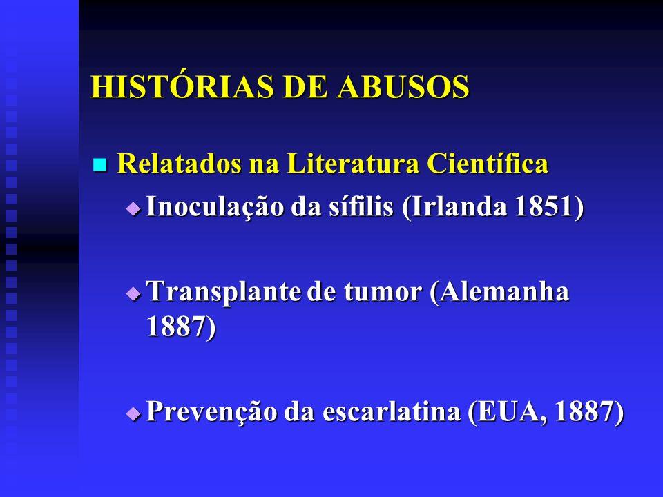 HISTÓRIAS DE ABUSOS Relatados na Literatura Científica