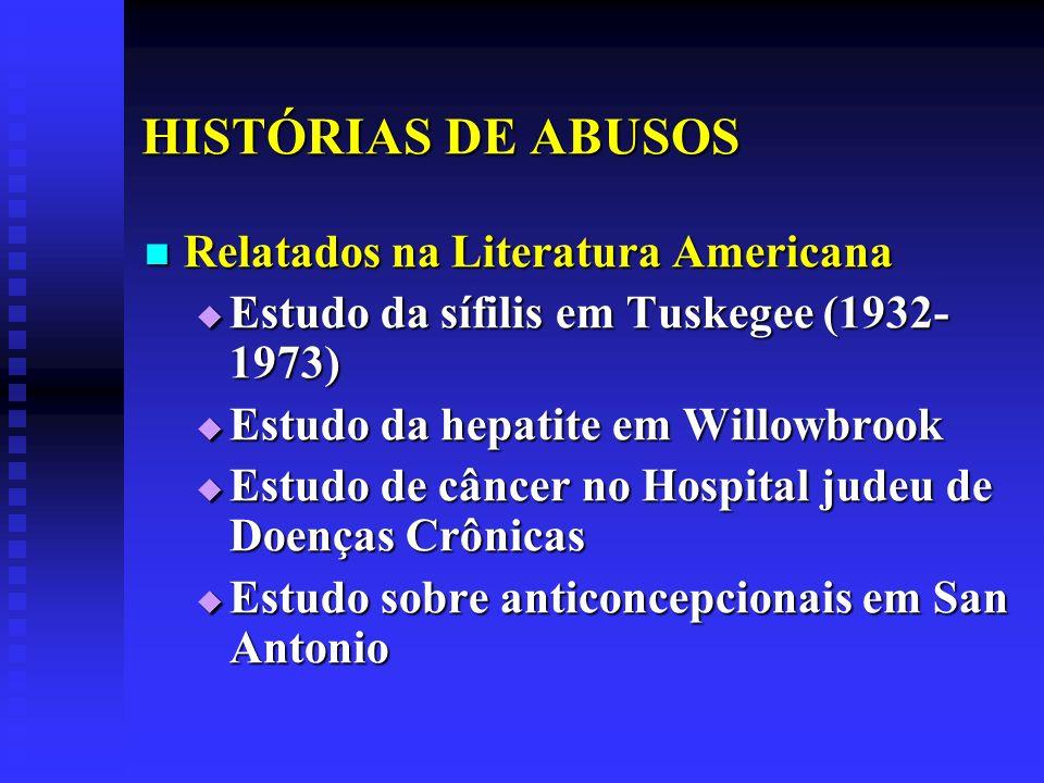 HISTÓRIAS DE ABUSOS Relatados na Literatura Americana