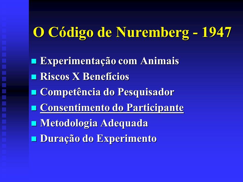O Código de Nuremberg - 1947 Experimentação com Animais