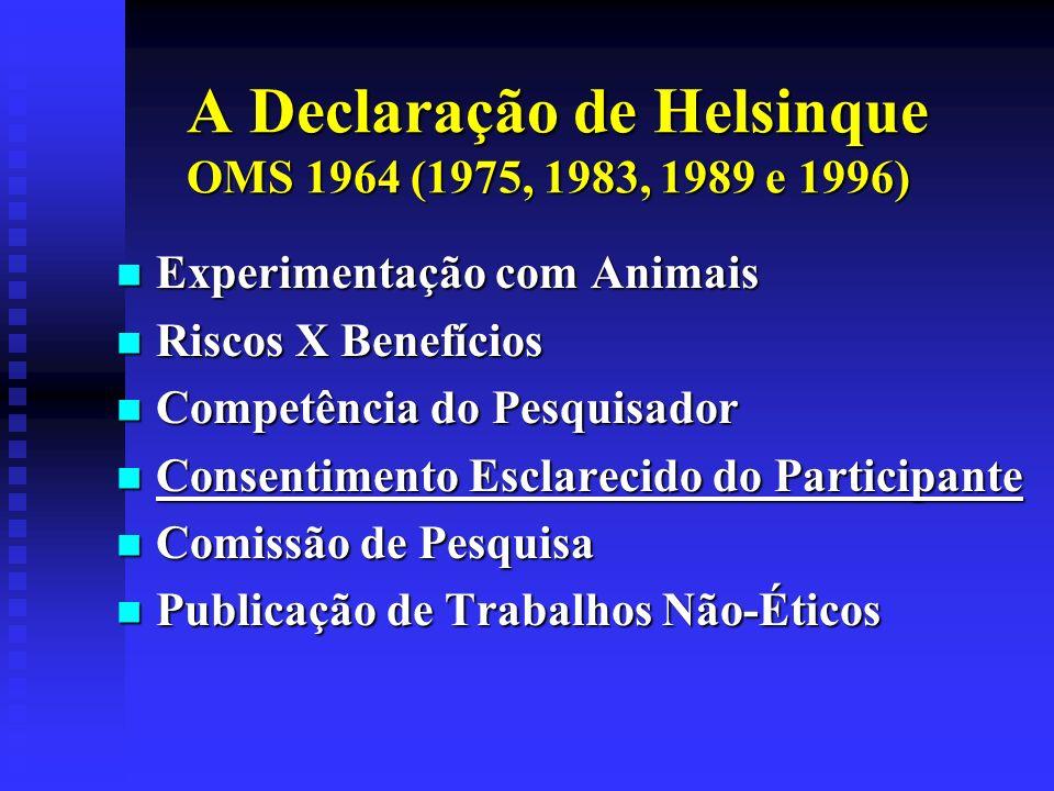 A Declaração de Helsinque OMS 1964 (1975, 1983, 1989 e 1996)
