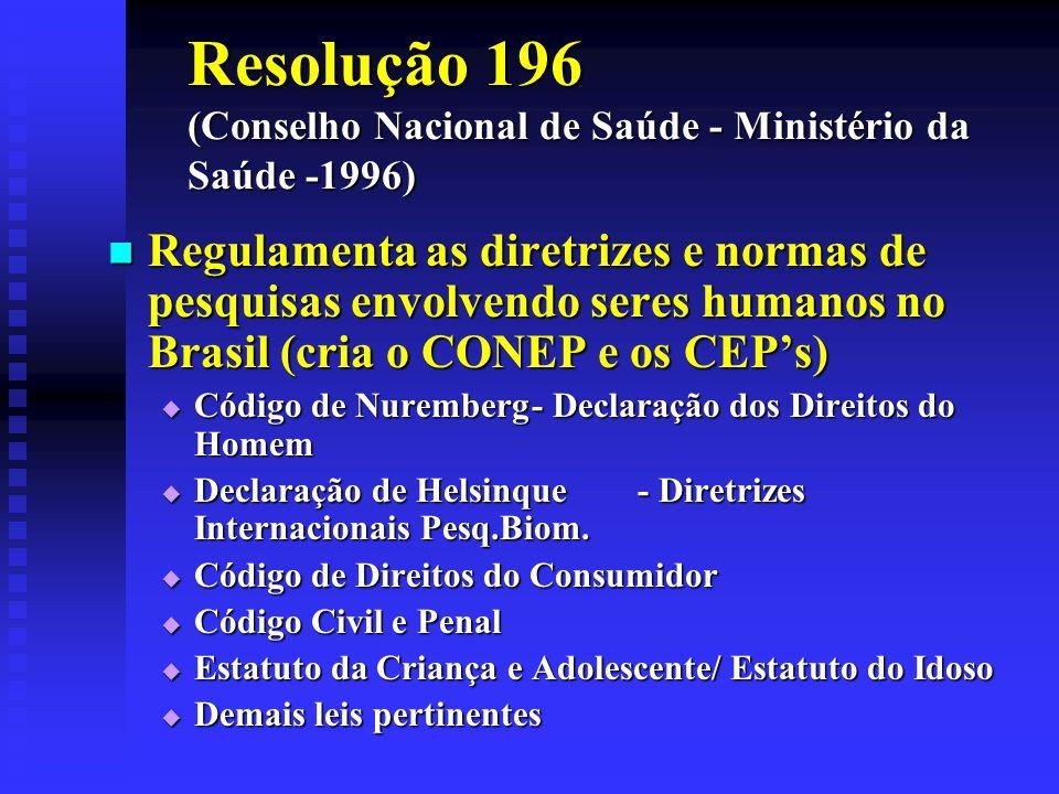 Resolução 196 (Conselho Nacional de Saúde - Ministério da Saúde -1996)