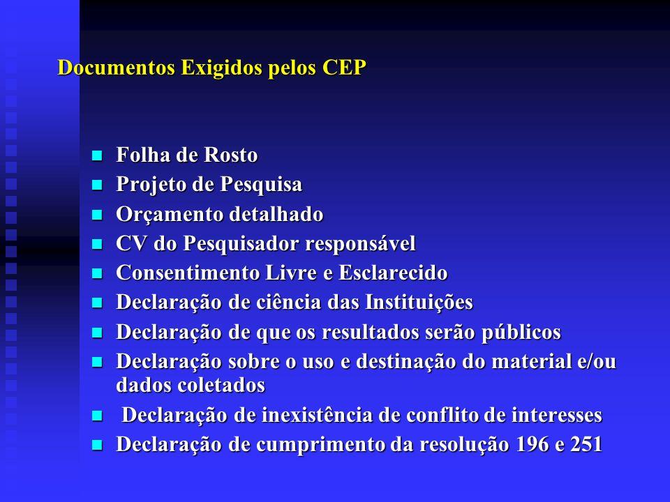 Documentos Exigidos pelos CEP