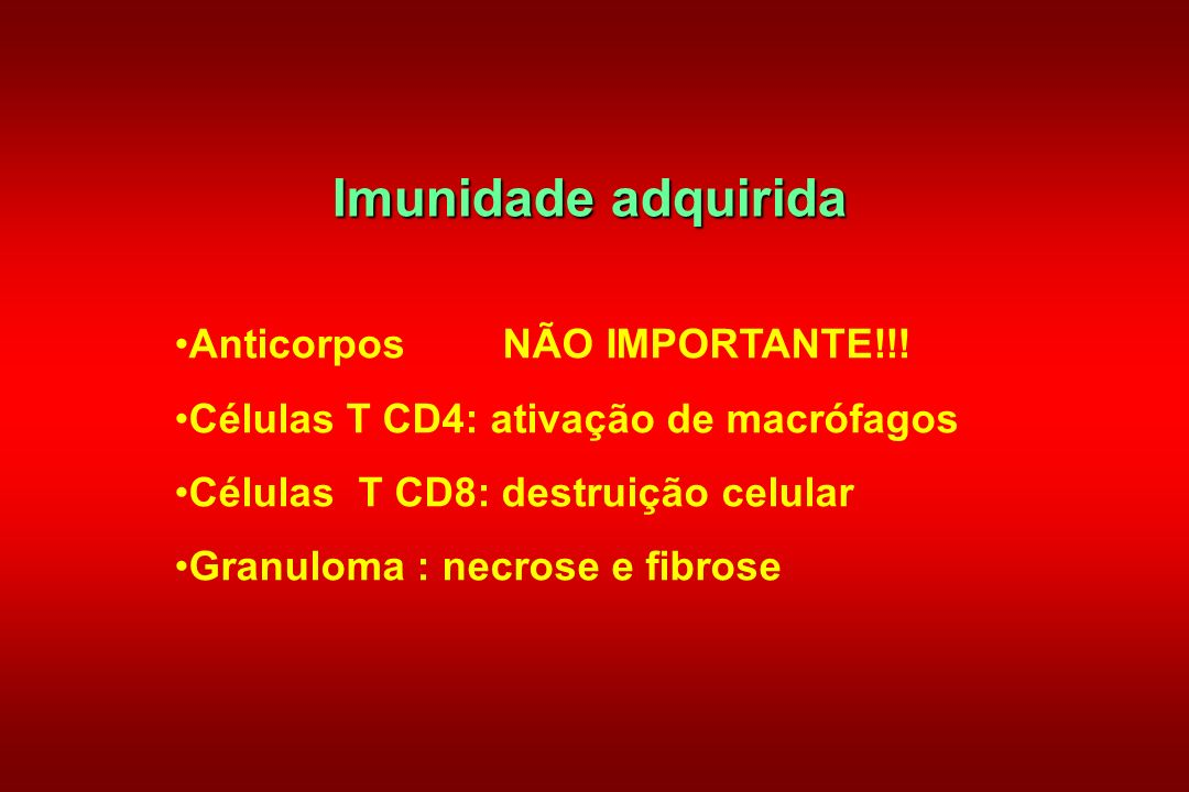 Imunidade adquirida Anticorpos NÃO IMPORTANTE!!!