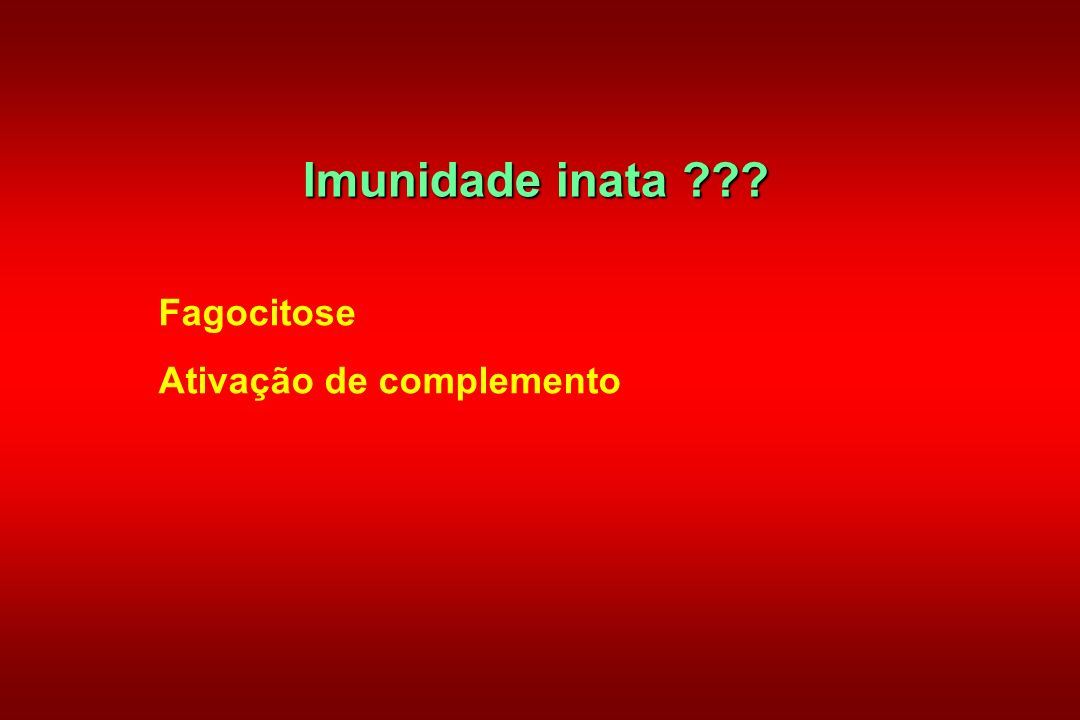 Imunidade inata Fagocitose Ativação de complemento