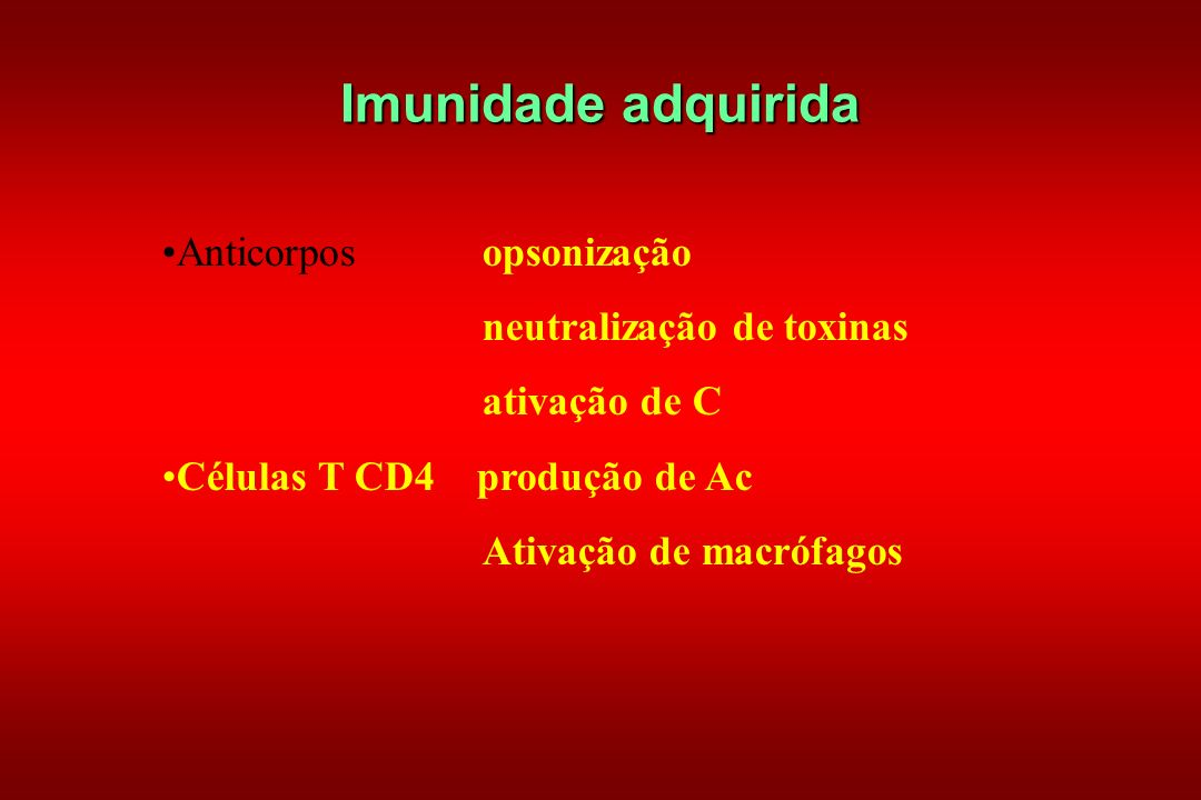 Imunidade adquirida Anticorpos opsonização neutralização de toxinas