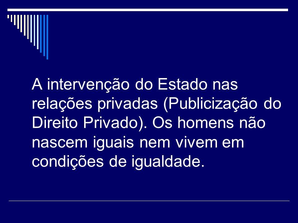 A intervenção do Estado nas relações privadas (Publicização do Direito Privado).