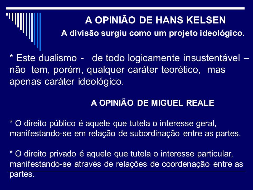 A OPINIÃO DE HANS KELSEN A divisão surgiu como um projeto ideológico