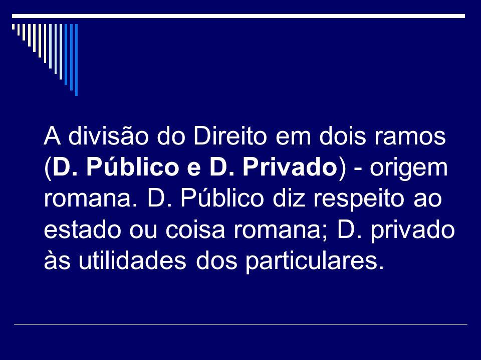 A divisão do Direito em dois ramos (D. Público e D