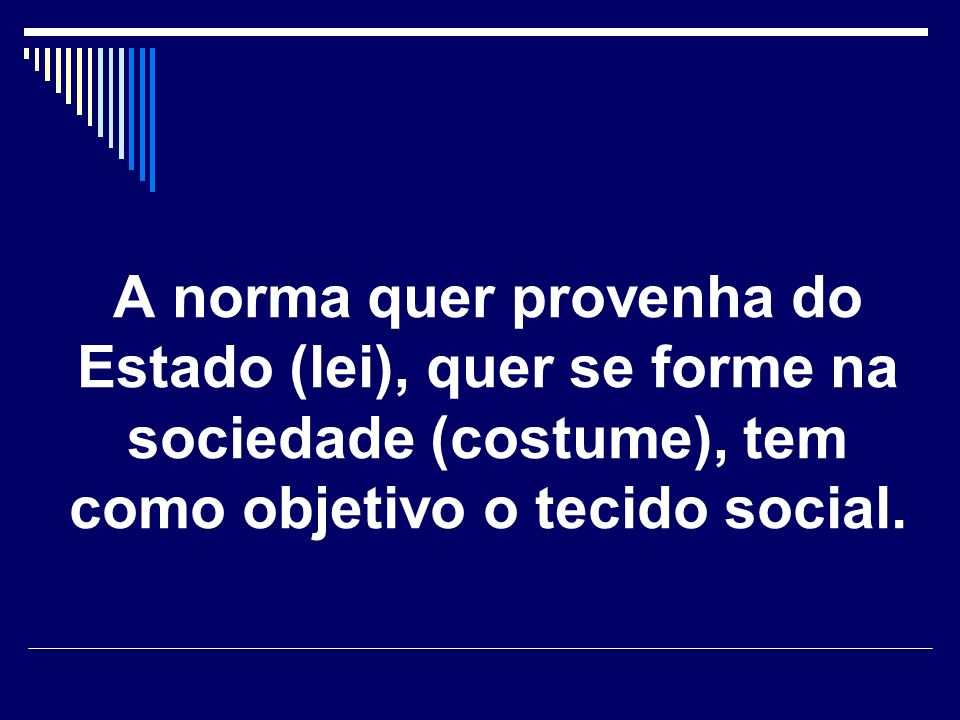 A norma quer provenha do Estado (lei), quer se forme na sociedade (costume), tem como objetivo o tecido social.
