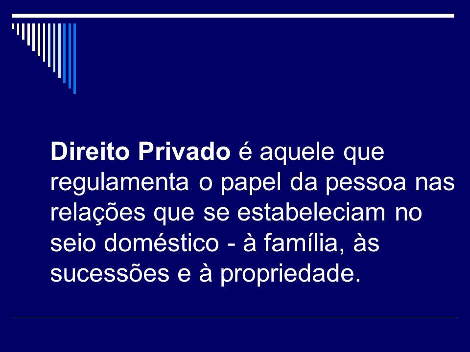 Direito Privado é aquele que regulamenta o papel da pessoa nas relações que se estabeleciam no seio doméstico - à família, às sucessões e à propriedade.